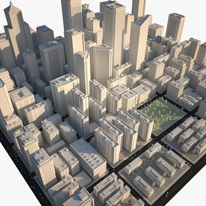 3d model of city downtown skyscrapers