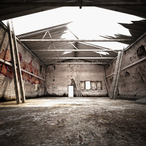3d model ruined industrial building environment