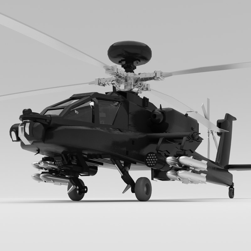 ah-64 apache helicopter 3d max