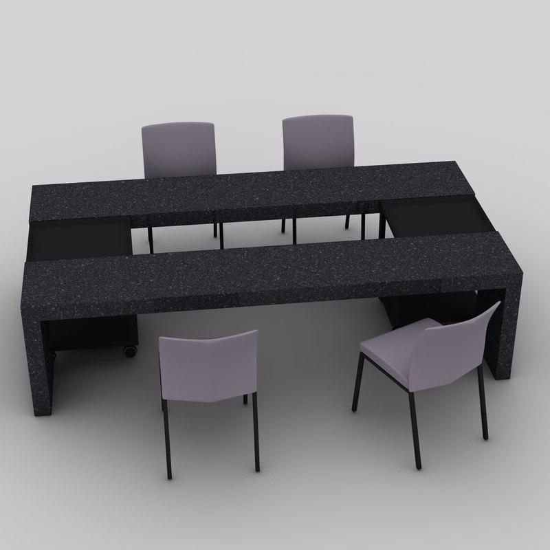 dining desk 7100 draenert 3d model