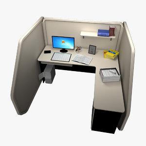 3d model office cubicle