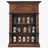 3d beer stein display cabinet model