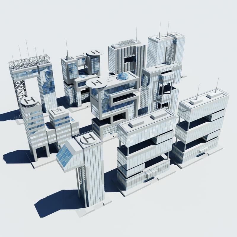 3d model building numbers