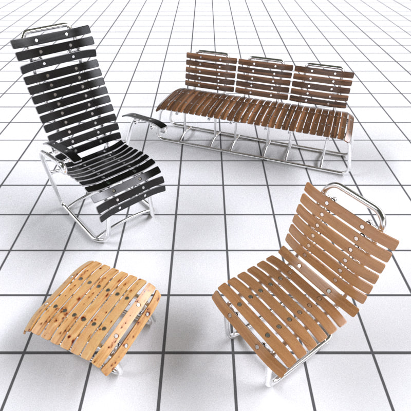 3d realistic chairs sets model