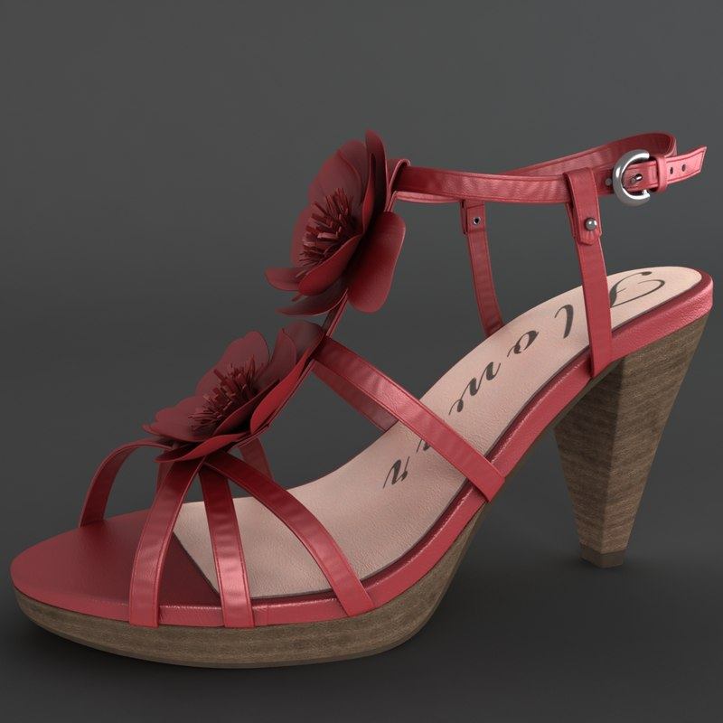3d model of realistic heel female shoes