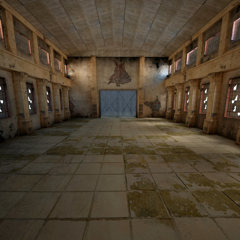 ruined industrial warehouse 3d model