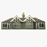 3d model semi detached british bungalow