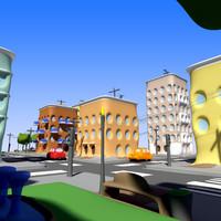 cartoon city building blocks 3d max