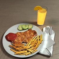 chicken chop updated 3d model