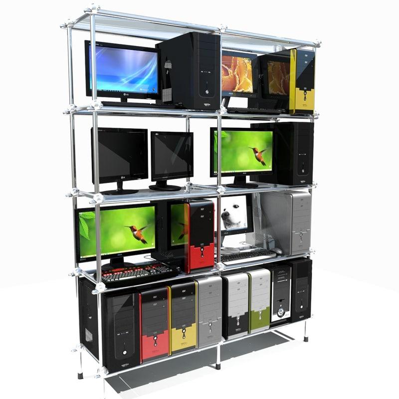 personal computer shelf desktop 3d model
