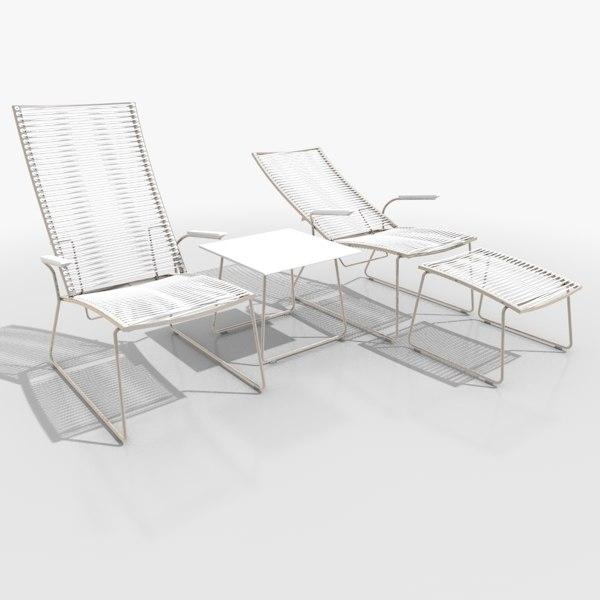 3d filigree lounger set furniture table model