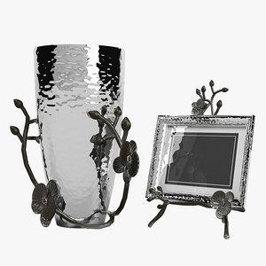 3d model of black orchid vase photo frame