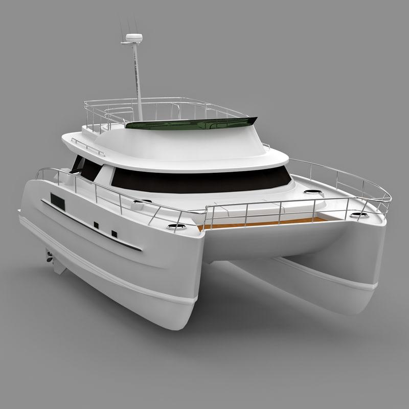 cruise catamaran cumberland 44 3d max