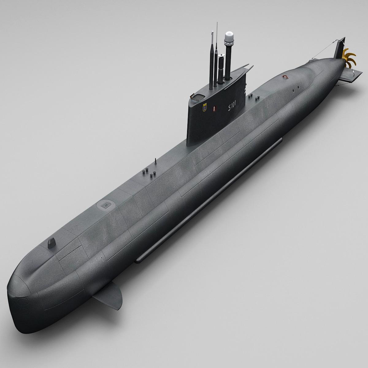 german submarine type 209 3d model