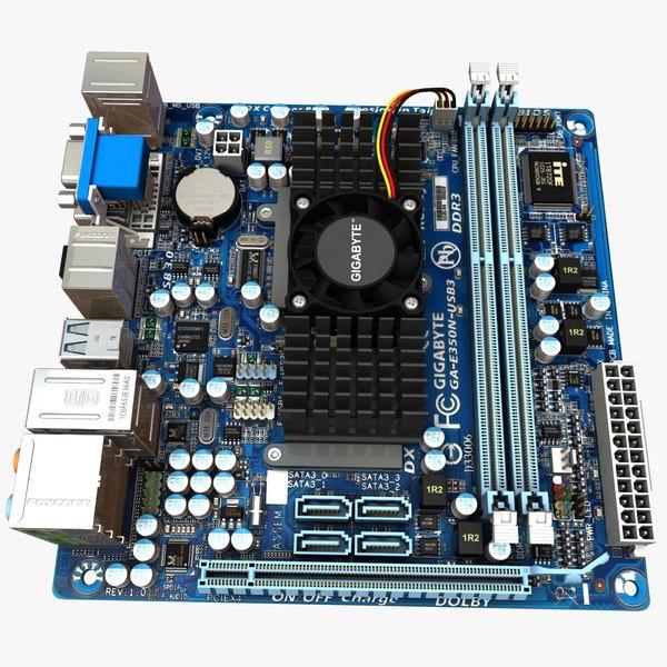 motherboard gigabyte e350n-usb3 3d model