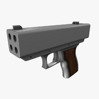 3d model quad barrel pistol