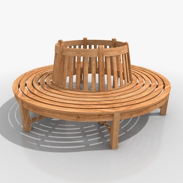 c4d garden tree bench teakwood