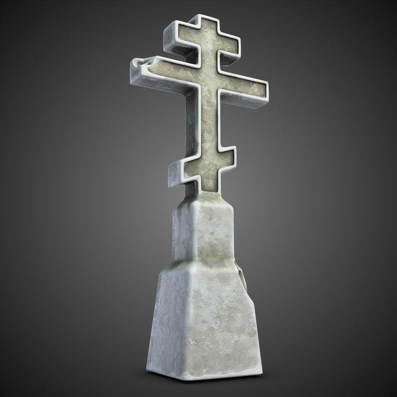 3d model cemetery cross 1