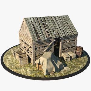 3d medieval shed