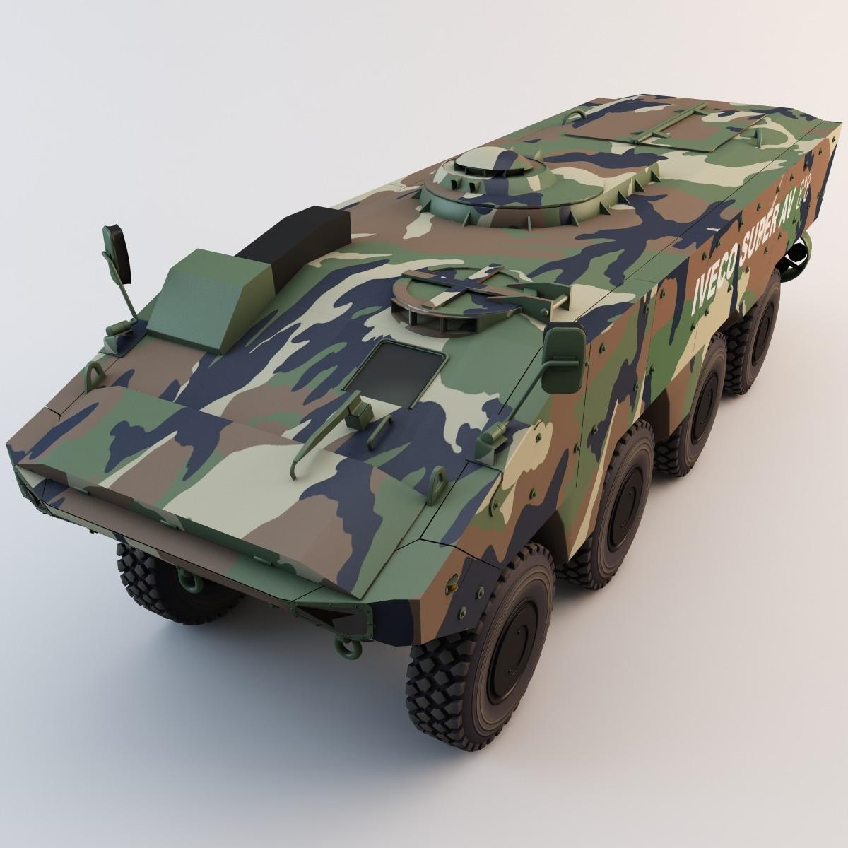 3d model iveco superav 8x8 armored