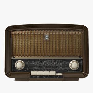 philetta vintage radio 3d max