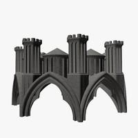 3d cathedral statues umbrella model