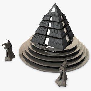 futuristic pyramid 3d model