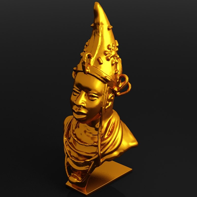 3d scanned african head sculpture model