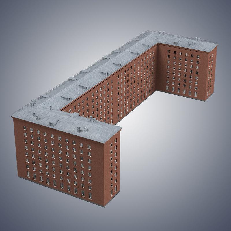 Car Sound Effects >> brick u shape building 3d max