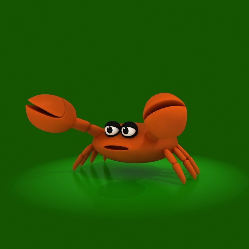 cartoon crab rig 3d model