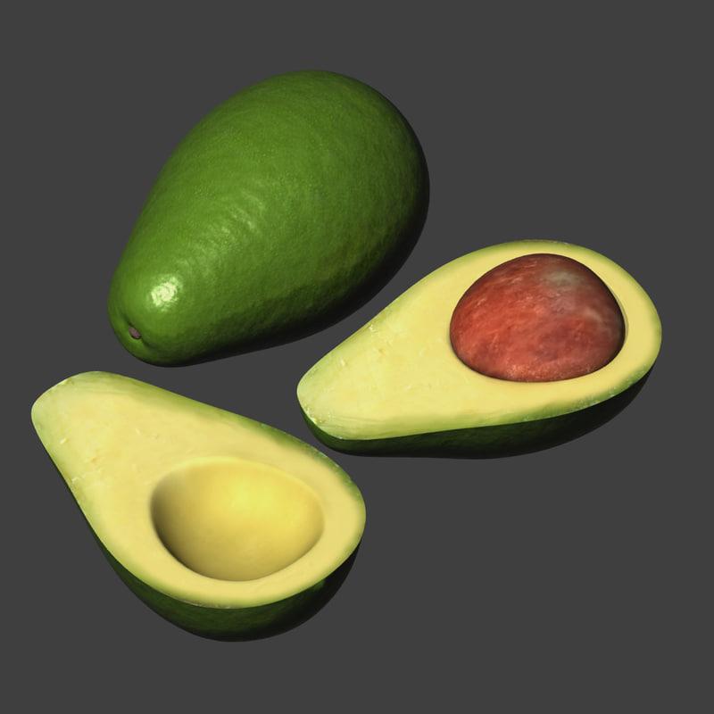avocado fruit persea 3d max
