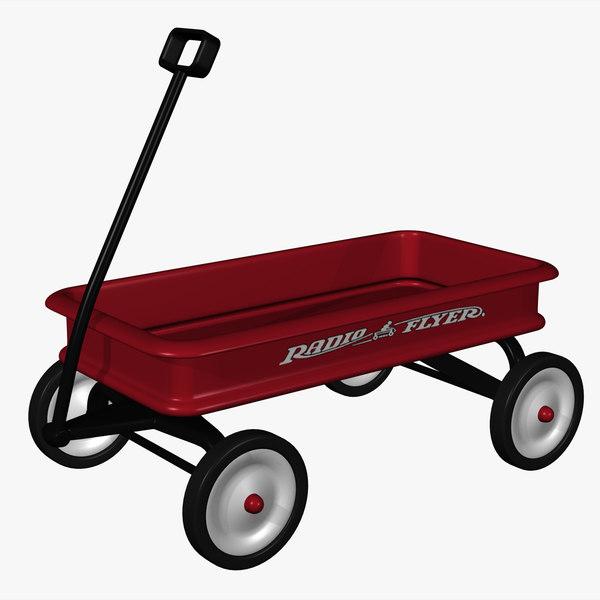classic red wagon 3d model