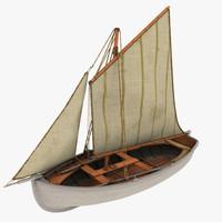 old fishing sailboat 3d model