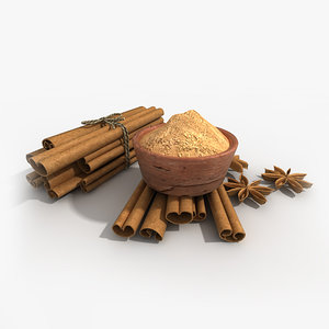 3d model cinnamon sticks powder