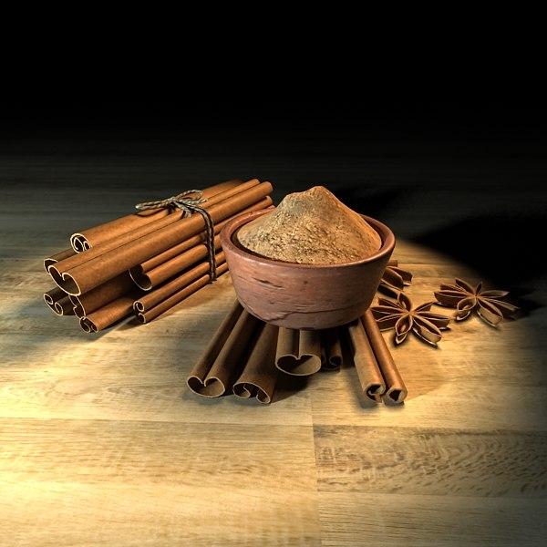 3d model cinnamon sticks powder