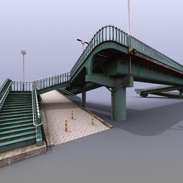 3d model city pedestrian bridge