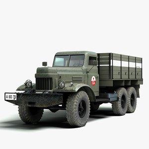3d soviet zil military truck