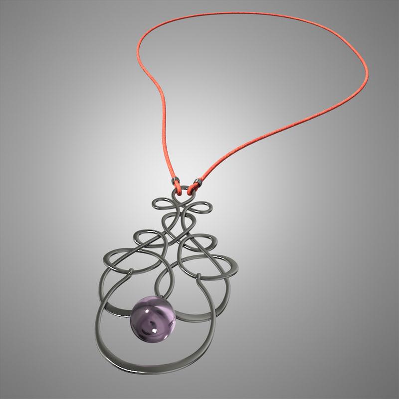 necklace silver 3d 3ds