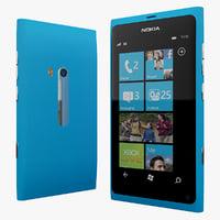 nokia lumia 800 cyan 3d model