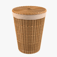 3d bathroom wicker bin model
