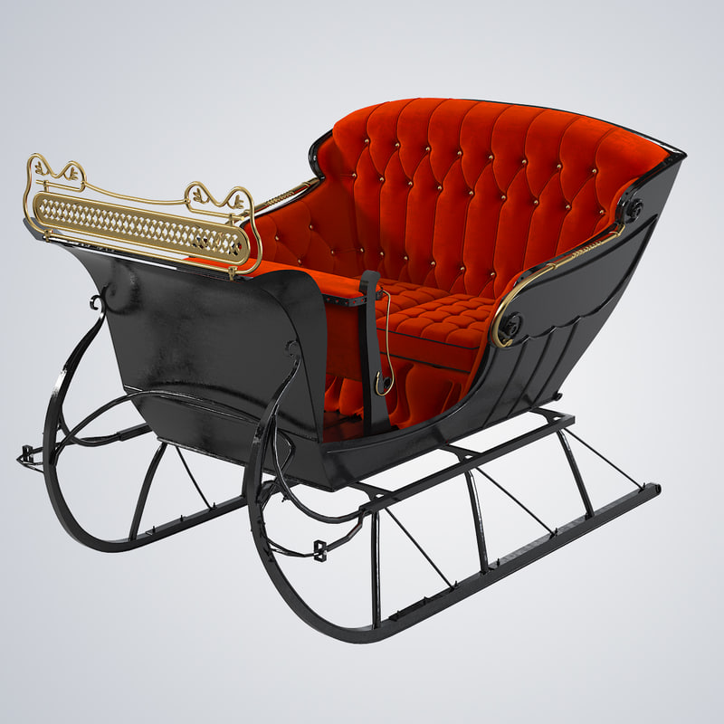 3d vintage horse open sleigh