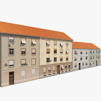 3d model european building facades