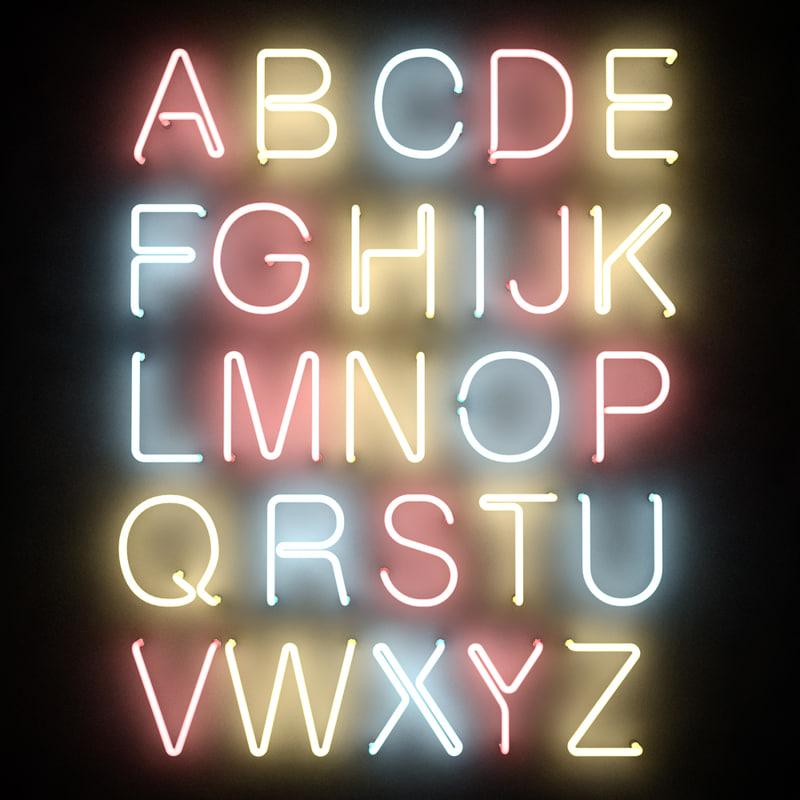 3dsmax neon tube alphabet letters