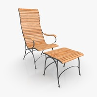 Classical Lounger Set Steel & Teak