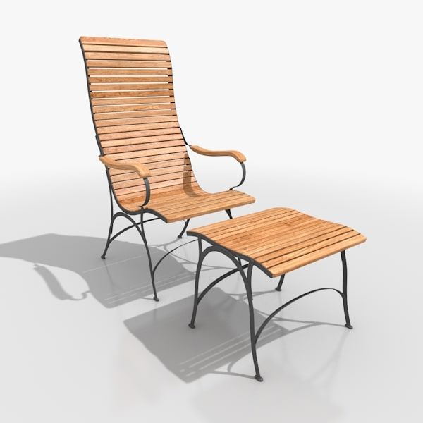 classical lounger set steel 3d model