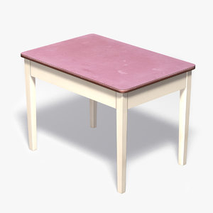 3d old wooden table white