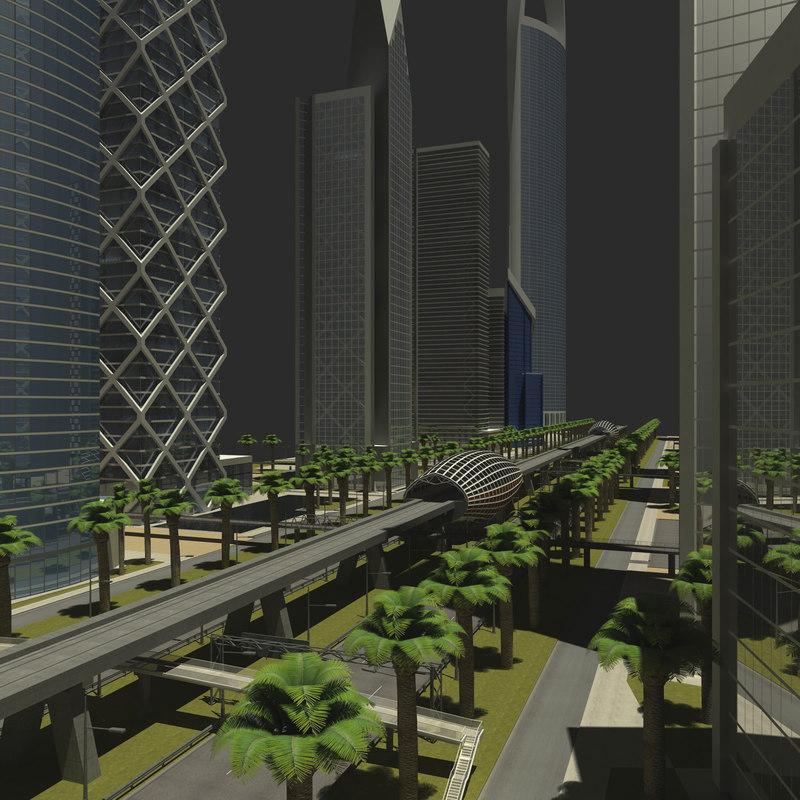 3d model skyscraper city road cityscape