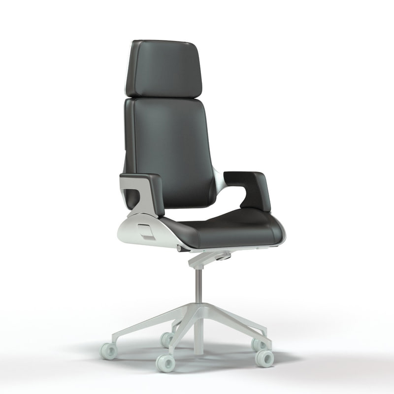 3d interstuhl silver office chair model