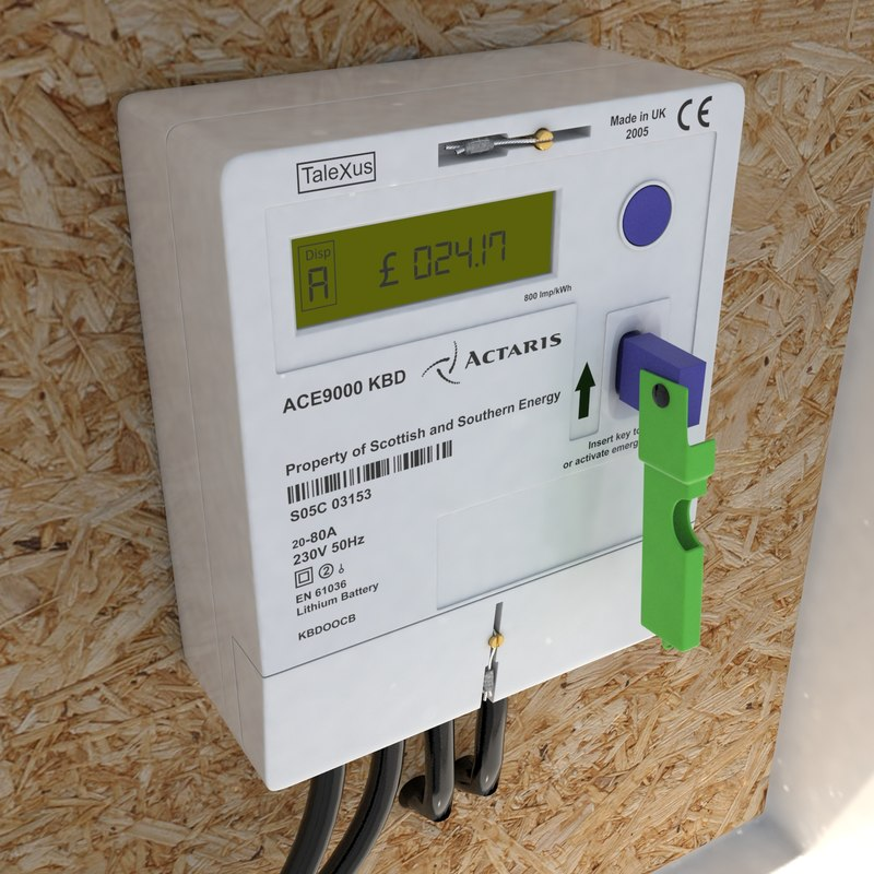 3d model electricity key meter