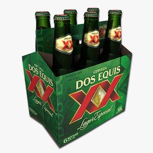 3d model pack dos equis beer